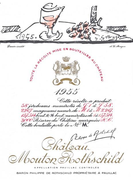 étiquette de Mouton-Rothschild par George Braque en 1955