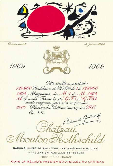 étiquette de Mouton-Rothschild par Juan Miro en 1969