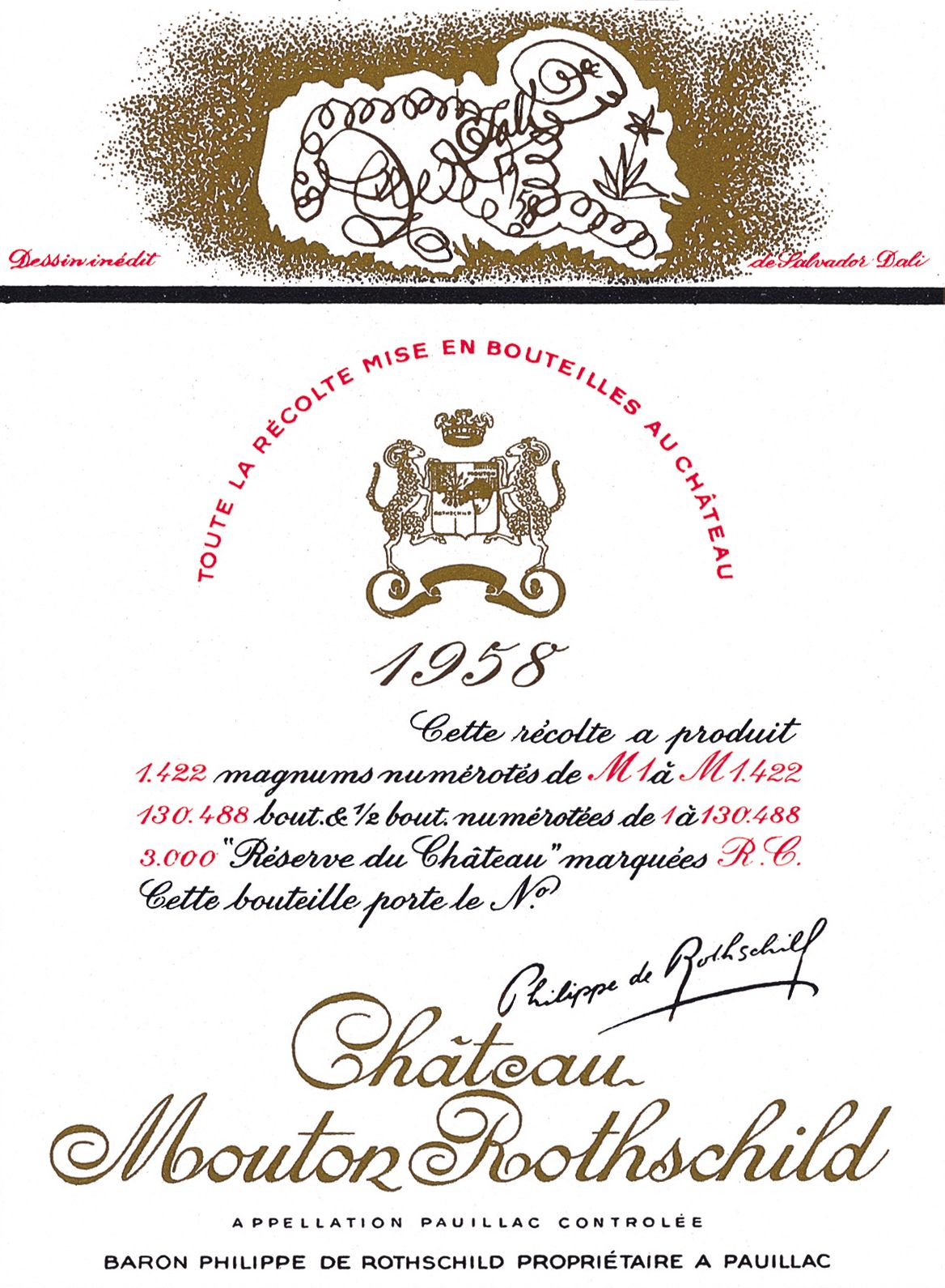 étiquette de Mouton-Rothschild par Salvador Dali en 1958