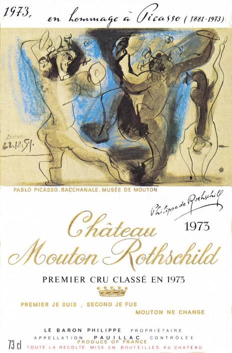 étiquette de Mouton-Rothschild par Pablo Picasso en 1973