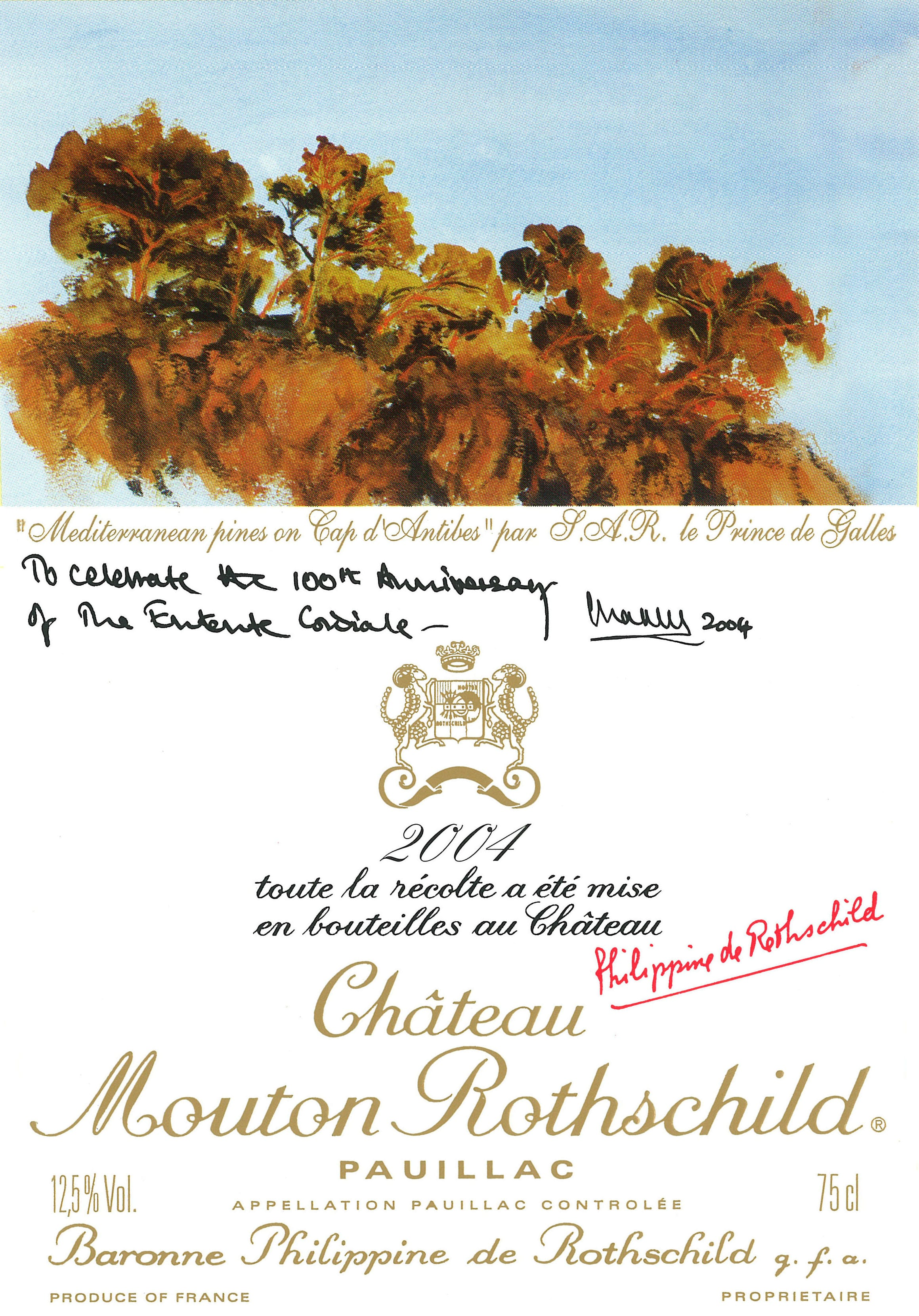 étiquette de Mouton-Rothschild par le Prince Charles en 1975