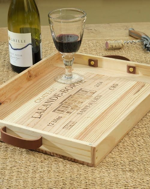 Service tray with wine crate