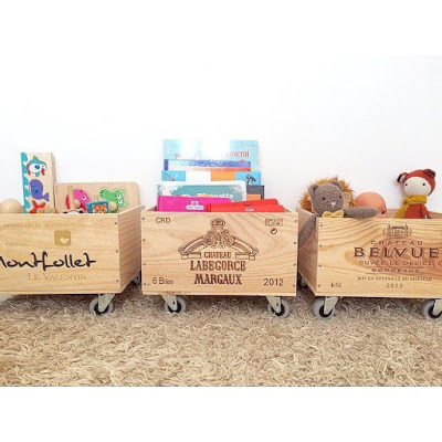 Toy chest with wine crates
