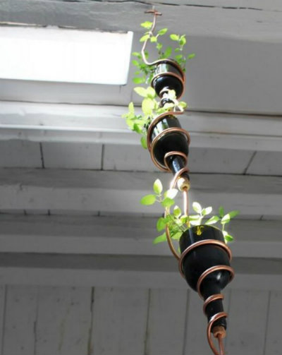 Hanging flowerpot wine bottle