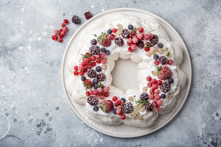 Pavlova for Christmas in Australia and New Zealand and sparkling wine