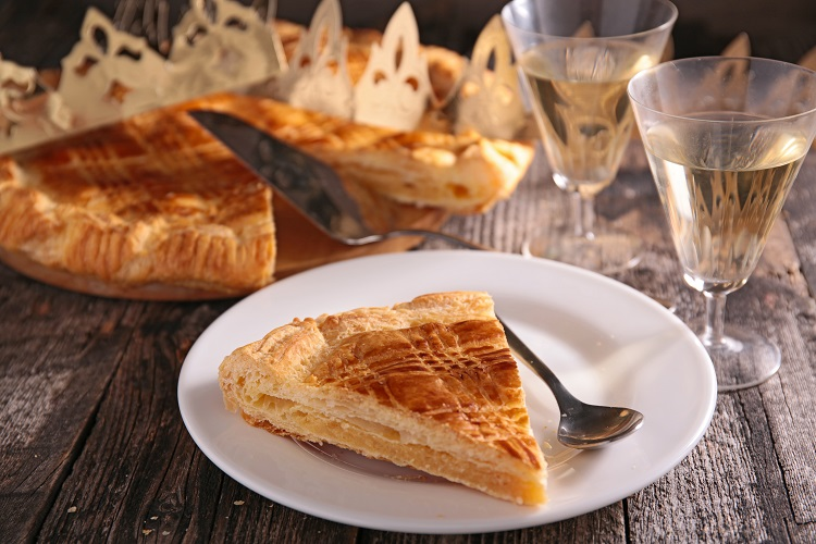 Galette des rois with frangipane and wine