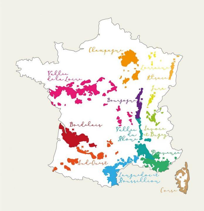 Tour de France des régions viticoles : carte de France